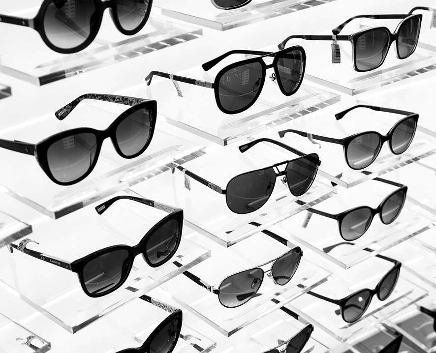 Sunglasses on rack