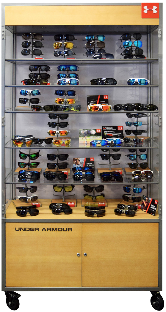 Sunglasses in display case